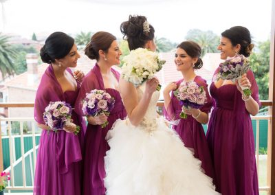 bride and bridesmaids hair makeup